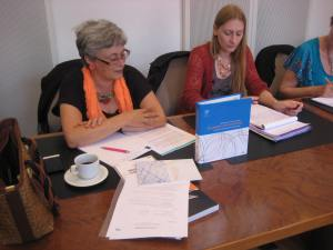 A gauche: Françoise Goffinet, Attachée à l'Institut pour l'Egalité des Femmes et des Hommes