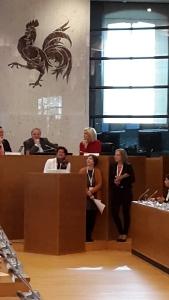 La délégation du CWEHF, composée d'Annie Cornet (FERULg), Cécile Dewandeler (Vie Féminine) et Sarah Hibo (FPS)